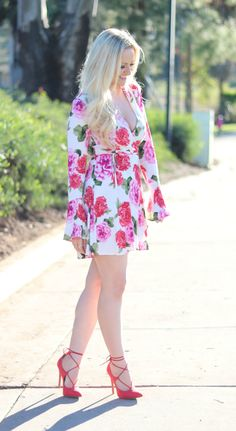 Valentine's Day Outfit 2017 - Floral Dress and Red Lace-Up Heels