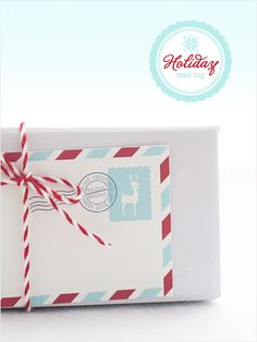 Free Printable Holiday Mail Stripes Gift Tag