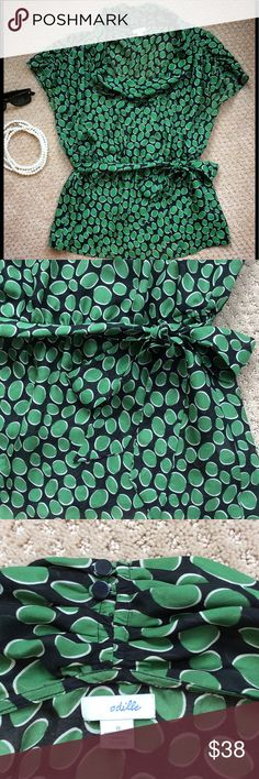 "Odille by Anthropologie Emerald Cascade Top Odille by Anthropologie emerald cowl neck top. 24"" long. Size 8. 100% silk. Can be worn with a camisole underneath or layered over a ong sleeved shirt (as seen on the character Lilly in How I Met Your Mother). In great condition.       (MR) Anthropologie Tops Blouses"