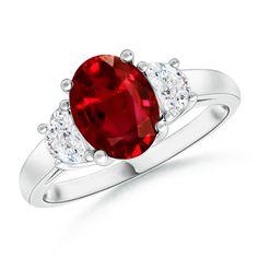 Angara Three Stone Diamond Ring with Ruby Stide Stone in Platinum hExZzlgFwm