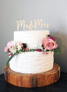 Mr and Mrs Wedding Cake Topper by LovelyGrainStudio on Etsy