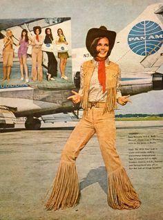 1970s Pan Am airline stewardess fashions.