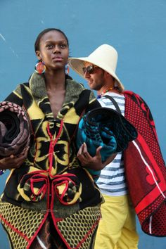 Basotho blankets are fast becoming a fashion trend. In ELLE Decoration's latest Country Issue they. African Dresses For Women, African Attire, African Women, African Suits, African Inspired Fashion, Africa Fashion, African Textiles, African Fabric, Sotho Traditional Dresses