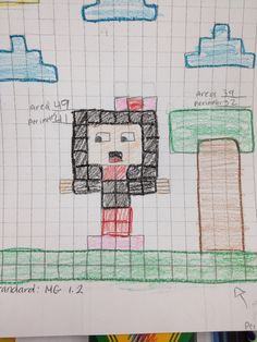 Math activity created by my 3rd grade student. They had to find the area and the perimeter for their drawings.