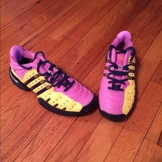 "Adidas Custom Mi Shoes Pink Yellow 7.5 Paradise Adidas Mi Custom Shoes. Pink & Yellow. ""Paradise"" on both shoes. Size 7.5. Excellent Condition. See Pics for Details! One of a Kind Shoes!!!!! Adidas Shoes Athletic Shoes"