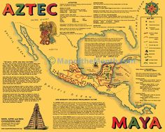 This is a NEW double-sided, gold-colored map, with TWO great maps and illustrations to supplement your studies of the pre-Columbian civilizations.  Both sides have maps, as well as cultural and geographic information and map activities. One side has the MAYA and AZTEC civilization, and the other side the INCA.