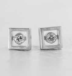 White Gold Square Diamond Earrings  Floating by AnuevaJewelry