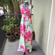 """Perfect Spring Watercolor Maxi Dress Perfect Spring Watercolor Maxi Dress from MM Couture by  Miss Me. Size M measures flat: 18"""" across chest, 14.5"""" across waist, 57"""" long, 22.5"""" across hips. There is a 25"""" side slit on each side. 100% cotton, fully lined, side zip closure and 3 buttons at back of neck. 430/1000/050116 Miss Me Dresses Maxi"""