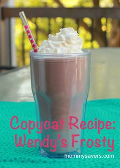 Wendy's Copycat Recipe - Wendy's Frosty  One cup heavy cream  1 can sweetened condensed milk  2 cups chocolate ice cream (get the cheap brand to save!)  2 cups milk  2 tablespoons chocolate syrup   First, beat the cream in a mixer until foamy.  Add the next four ingredients and beat well.  Freeze in a 2-quart container for 1-2 hours.  Top with whipped cream if desired.