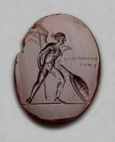 Oval gem with Eros with spear and shield  Greek, Late Classical or Early Hellenistic Period, 350–300 B.C.