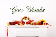 Vinyl Decals Decoration Decal Give Thanks  by VinylArtByAlison