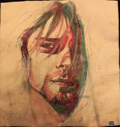 Kurt Cobain // I wish I knew who the artist was.