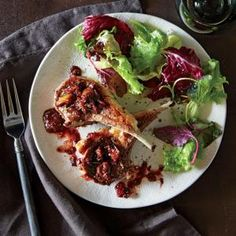 Lamb Chops with Fresh Fig Pan Sauce | MyRecipes.com #myplate #protein #veggies