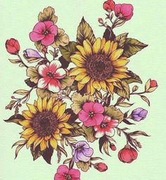Sunflower tattoo - flower tattoo - flower art - floral
