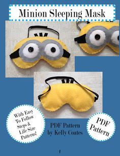 PDF Pattern Adorable Character Sleeping Mask by KELLYsCUTEEs