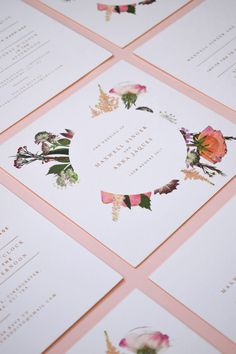 Pressed Flower Wedding Invitations with Rose Gold Foil