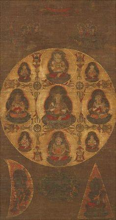 Sonshō Mandala, 13th century, Onjōji temple, Shiga 尊勝曼荼羅図 鎌倉時代 13世紀 園城寺(三井寺) 大津市