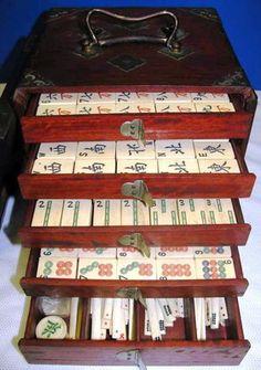 Antique Ox Bone Mah Jong Game Set