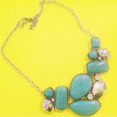 Western Texas Turquoise Stone Crystal Statement Silver Cowgirl Necklace Earring #uniklook #pendantnecklaceset