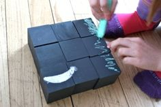 Paint wood blocks with chalkboard paint to extend their play.