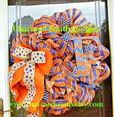 Florida Gator Fan wreath Deco mesh wreath Monogram wreath
