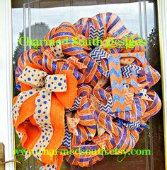 Florida Gator Fan wreath Deco mesh wreath Monogram wreath