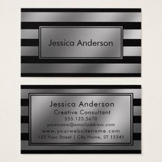 Black and Faux Silver Foil Metallic Wide Stripes Business Card - metallic style stylish great personalize