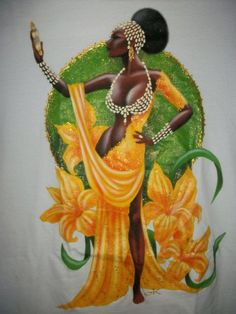 Orisha Oshun/Oxum paintings by Brazilian artist, Claudia Krindges Oshun Goddess, Orishas Yoruba, African Goddess, Afrique Art, Black Art Pictures, Wow Art, Afro Art, Black Women Art, African American Art