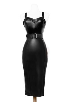 Deadly Dames - Downtown Dame Dress in Faux Black Leather hobble Dark Fashion, Gothic Fashion, Leather Fashion, Vintage Fashion, Steampunk Fashion, Fashion Beauty, Mode Outfits, Fashion Outfits, Womens Fashion