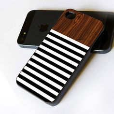 Wood Black White Stripes - Design For iPhone 4 Case, iPhone 4s Case, iPhone 5/5S/5C Case and Samsung Galaxy S3/S4