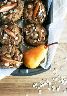 These whole food Ginger Pear Muffins are Dairy-free, vegan and damn delicious. Pear Muffins, Sprout Recipes, Pretzel Bites, Sprouts, Whole Food Recipes, Dairy Free, Bread, Vegan, Breakfast