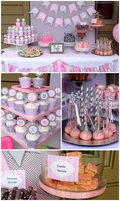 Sweet pink and gray PRINCESS  KNIGHT twins birthday party.  Lots of creative ideas! | Poppy Event Design