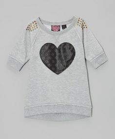 Take a look at this Gray Stud Heart Sweatshirt by Forever Me on #zulily today!