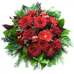 Send Tis The Season Festive Bouquet to Germany, the gift includes: - Bouquet of red roses, carnations and gerbera daisies with greenery; Red Flowers, Red Roses, Beautiful Flowers, Carnations, Gerbera Daisies, Flowers Canada, Same Day Flower Delivery, Christmas Trees, Christmas Gifts