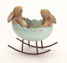 Rabbit Duo in Rocking Egg Item #62722