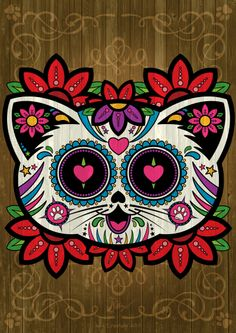 Candy Skull Cat illustration by Iain Spanhake. Available for purchase at Zazzle #sugarskull #dayofthedead #candyskull