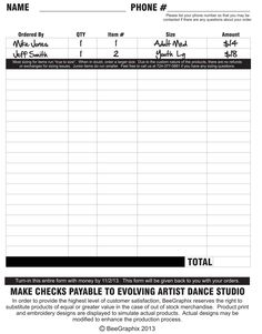 Order form --> Turn this sheet in!
