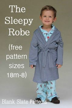 Sewing Gifts For Kids Sleepy Robe - Free Pattern and Tutorial for Children's Robe Sizes - Melly Sews - Make this easy kids robe in sizes with this free robe pattern Boys Sewing Patterns, Sewing For Kids, Baby Sewing, Free Sewing, Pattern Sewing, Clothes Patterns, Sewing Projects For Beginners, Sewing Tutorials, Sewing Ideas