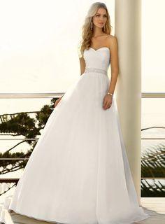 Beformal.com.au SUPPLIES Simple A Line Sweetheart  Beaded Belt  Long Wedidng Dress  Simple Wedding Dresses