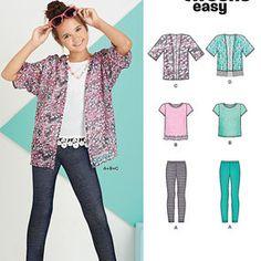 Pattern 6445 Easy Girl's Kimono, Knit Top and Leggings