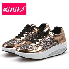 New Chunky Sneakers Wedge Shoes Sequins Trainers Paillette Platform Sneakers Tenis Feminino Zapatillas Mujer online shopping - Thehotnewreleases Sneakers Mode, Wedge Sneakers, Girls Sneakers, Casual Sneakers, Sneakers Fashion, Casual Shoes, Fashion Shoes, Chunky Sneakers, Shoes Sneakers