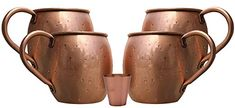 Buy Melange 16 Oz Copper Barrel Mug for Moscow Mules, Set of 4 with One Shot Glass - Heavy Gauge - No Lining - Includes Free Recipe Card Recipe Cards, Moscow Mule Mugs, Gauges, Free Food, Shot Glass, Barrel, Copper, Tableware, Stuff To Buy