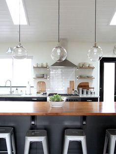 island lights for our kitchen? Great tips from House Tweaking on how to clean the West Elm globe lights we have in our kitchen. & Kitchen Island Lighting Guide. How many lights? How big? How high ...
