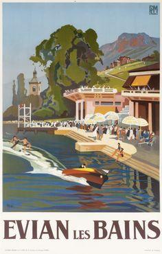 Evian-les-Bains - PLM by Peri, Lucien (1938) | Shop original vintage posters online: www.internationalposter.com