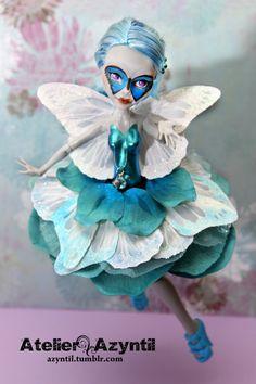 OOAK Custom Monster High Repaint  Blue Morpho Ghoulia by Azyntil, $110.00