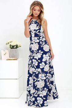 In Blossom Blue Floral Print Maxi Dress at Lulus.com!