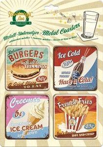 Metal Coasters - Nostalgic Art - Retro American Diner Design | eBay
