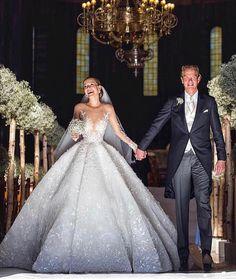 Swarovski heiress VICTORIA SWAROVSKI's wedding in Italy last June broke the internet and named as the most expensive celebrity wedding… Celebrity Wedding Dresses, Princess Wedding Dresses, Dream Wedding Dresses, Celebrity Weddings, Bridal Dresses, Couture Wedding Gowns, Gown Wedding, Swarovski Wedding Dress, Dubai Wedding Dress