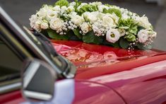 Download wallpapers wedding, white roses, wedding car, car decorations, wedding bouquet