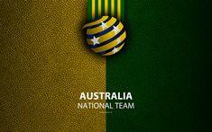 Download wallpapers Australia national football team, 4k, leather texture, emblem, Football Federation Australia, FFA, logo, Asia, Football, Australia